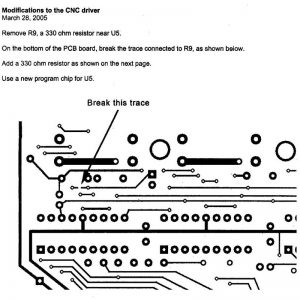 Bottom side of the circuit board to see where to break the trace.
