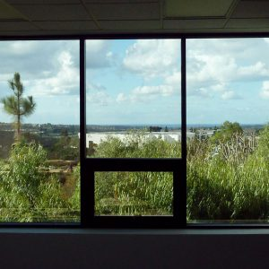 The view west from the second floor offices. The Pacific Ocean can be seen on the horizon.